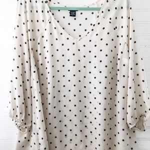 Creme black polka dot blouse